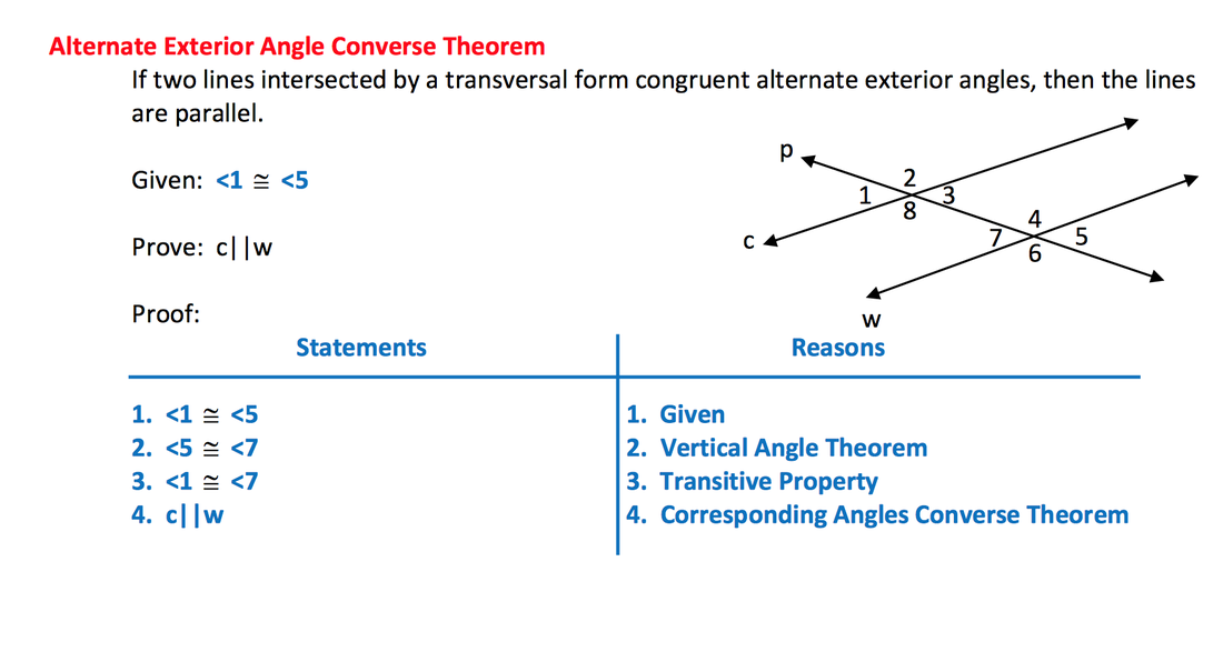 Same side interior angles are supplementary proof www - Alternate exterior angles converse ...